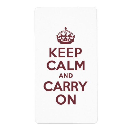 Wine Keep Calm and Carry On Label