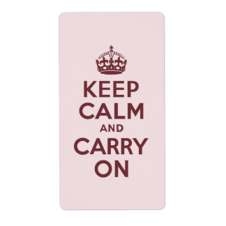 Wine Keep Calm and Carry On Personalized Shipping Label