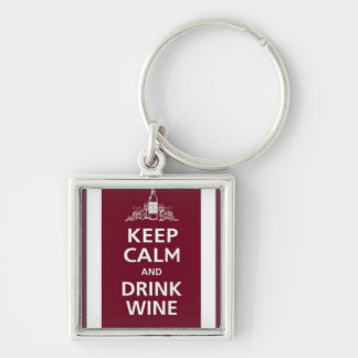 """WINE: """"KEEP CALM AND DRINK WINE"""" Silver-Colored SQUARE KEYCHAIN"""
