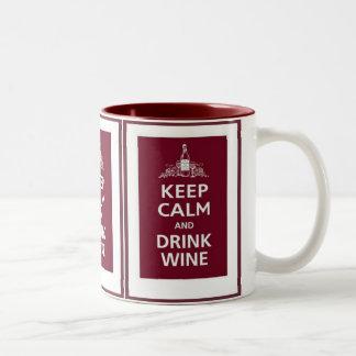 "WINE: ""KEEP CALM AND DRINK WINE"" Two-Tone COFFEE MUG"