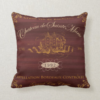 Wine Label Art, Wine Chateaux I Pillow