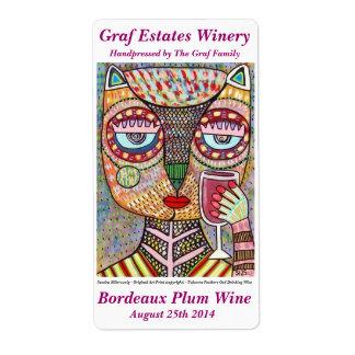 Wine Label Jewish Feathers Owl Drinking Red Wine