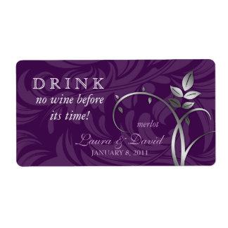 Wine Label Leaf Swirls Purple Silver
