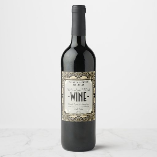 Wine Labels Black Baroque Lace Pattern
