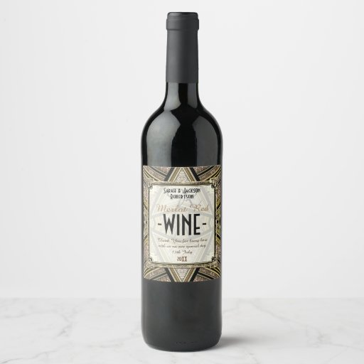 Wine Labels Black Gold Triangle Sparkler Pattern