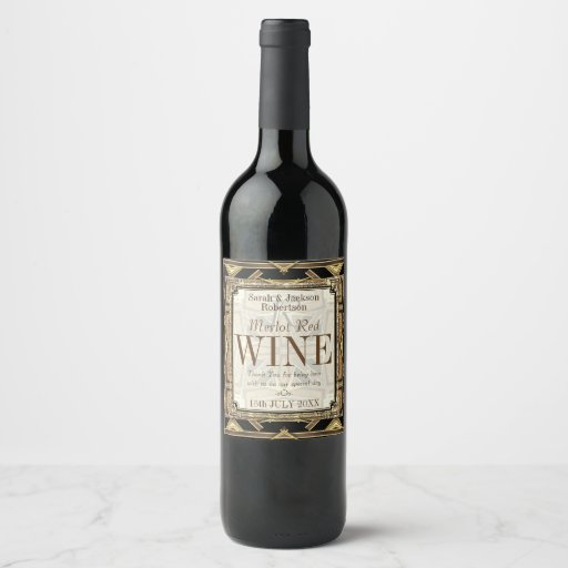 Wine Labels | Stylish Earthy Gold Black Glamour