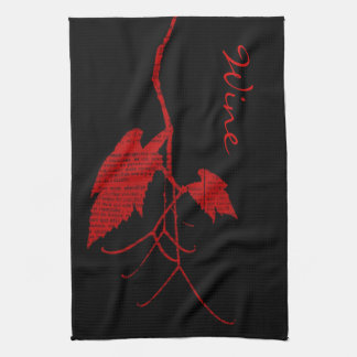 Wine leaves with printed text hand towels