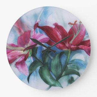 Wine Lillies In Pastel Watercolour Large Clock