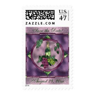 Wine Love Save the Date Postage Stamp