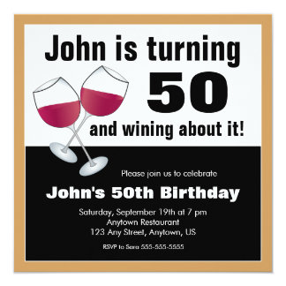 Wine Lover 50th Birthday Party Card