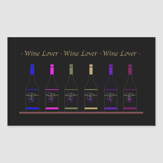 WINE LOVER_6 BOTTLES RECTANGULAR STICKER