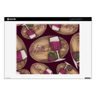 "Wine Lover on Wood Oval 14"" Laptop Skin"