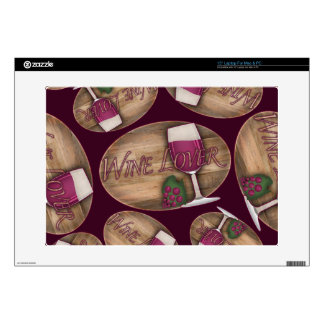 """Wine Lover on Wood Oval 15"""" Laptop Decal"""