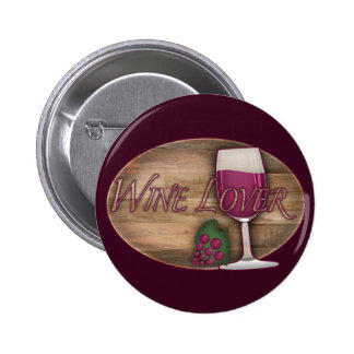 Wine Lover on Wood Oval Button