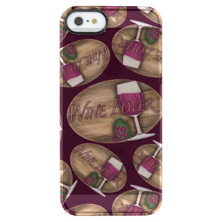 Wine Lover on Wood Oval Clear iPhone SE/5/5s Case