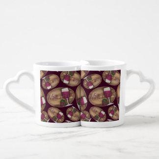 Wine Lover on Wood Oval Coffee Mug Set