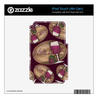Wine Lover on Wood Oval Decals For iPod Touch 4G
