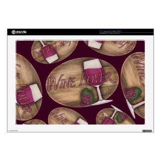 Wine Lover on Wood Oval Decals For Laptops