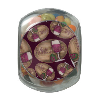 Wine Lover on Wood Oval Glass Candy Jars