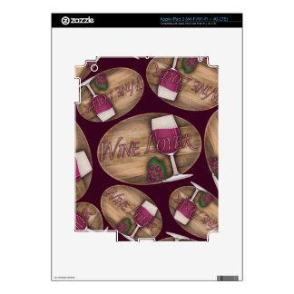 Wine Lover on Wood Oval iPad 3 Decals