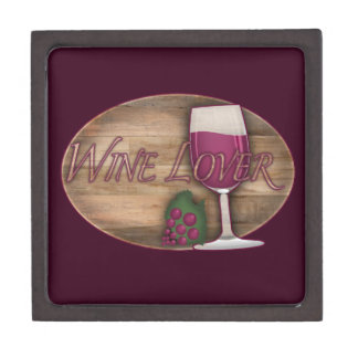 Wine Lover on Wood Oval Jewelry Box