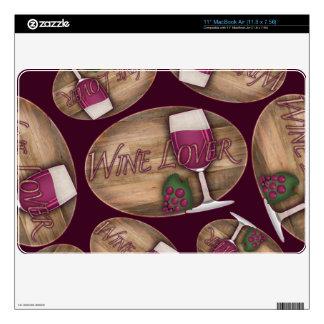 Wine Lover on Wood Oval MacBook Air Skins