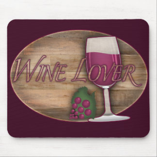 Wine Lover on Wood Oval Mouse Pad