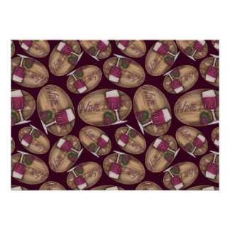 Wine Lover on Wood Oval Poster