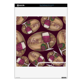 Wine Lover on Wood Oval PS3 Slim Decals