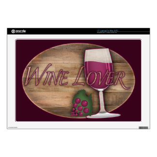 Wine Lover on Wood Oval Skin For Laptop