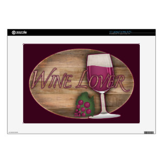 "Wine Lover on Wood Oval Skins For 15"" Laptops"