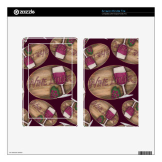 Wine Lover on Wood Oval Skins For Kindle Fire