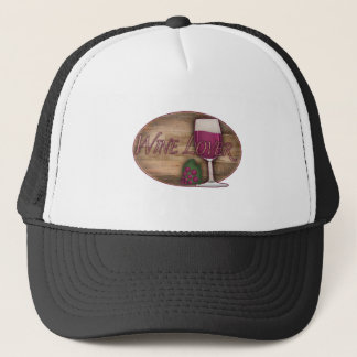 Wine Lover on Wood Oval Trucker Hat