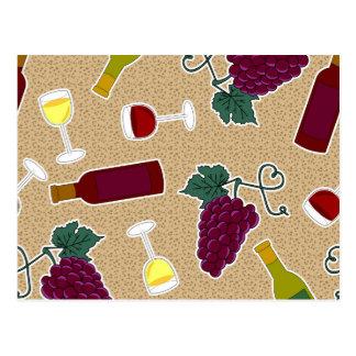 Wine Lover Pattern Postcard