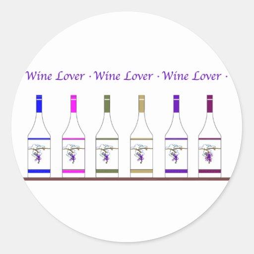 WINE LOVER ROUND STICKERS