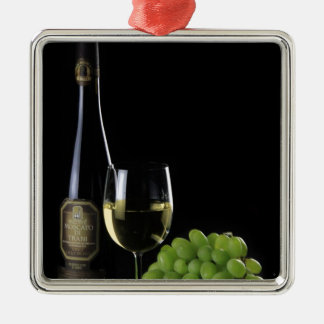 Wine Lover White Wine Bottle Glass Grapes Metal Ornament
