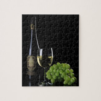 Wine Lover White Wine Bottle Glass Grapes Jigsaw Puzzles