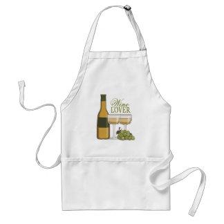 Wine Lover White Wine Bottle Glasses & Grapes Adult Apron