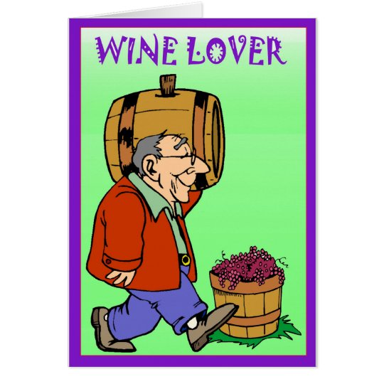 Wine lover, with barrel card