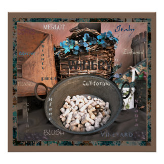 Wine Lovers 2 Bold Turquoise & Rust Art Poster