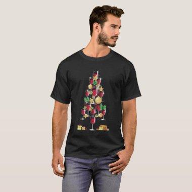 Wine Lovers Christmas Tree Gag Gift T-Shirt