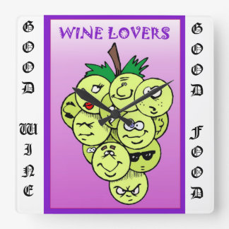 Wine lovers square wall clock