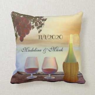Wine Lovers Fall Wedding Pillow