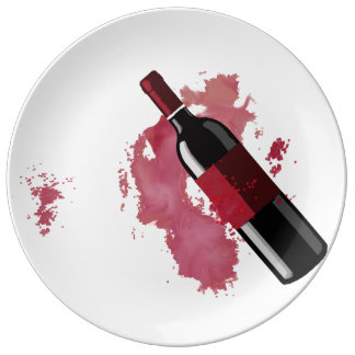 Wine Lovers Plate Porcelain Plate