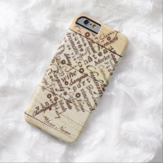 Wine Lovers Rustic Burnt Barn Wood Typography Name Barely There iPhone 6 Case