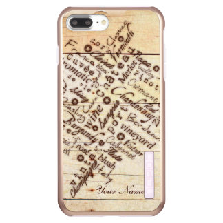 Wine Lovers Rustic Burnt Barn Wood Typography Name Incipio DualPro Shine iPhone 8 Plus/7 Plus Case