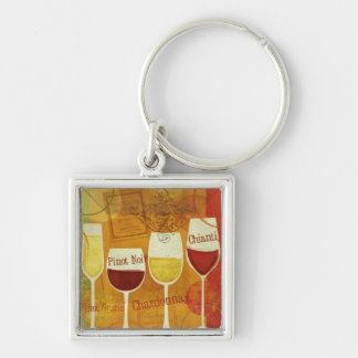 Wine Lovers Silver-Colored Square Keychain