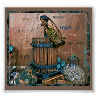 Wine Lovers Turquoise & Rust Art Poster