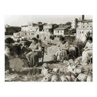 Wine making Chianti bottle covers Postcard
