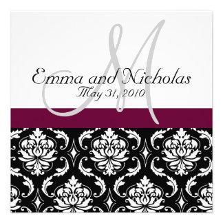 Wine Monogram Damask Wedding Invitation